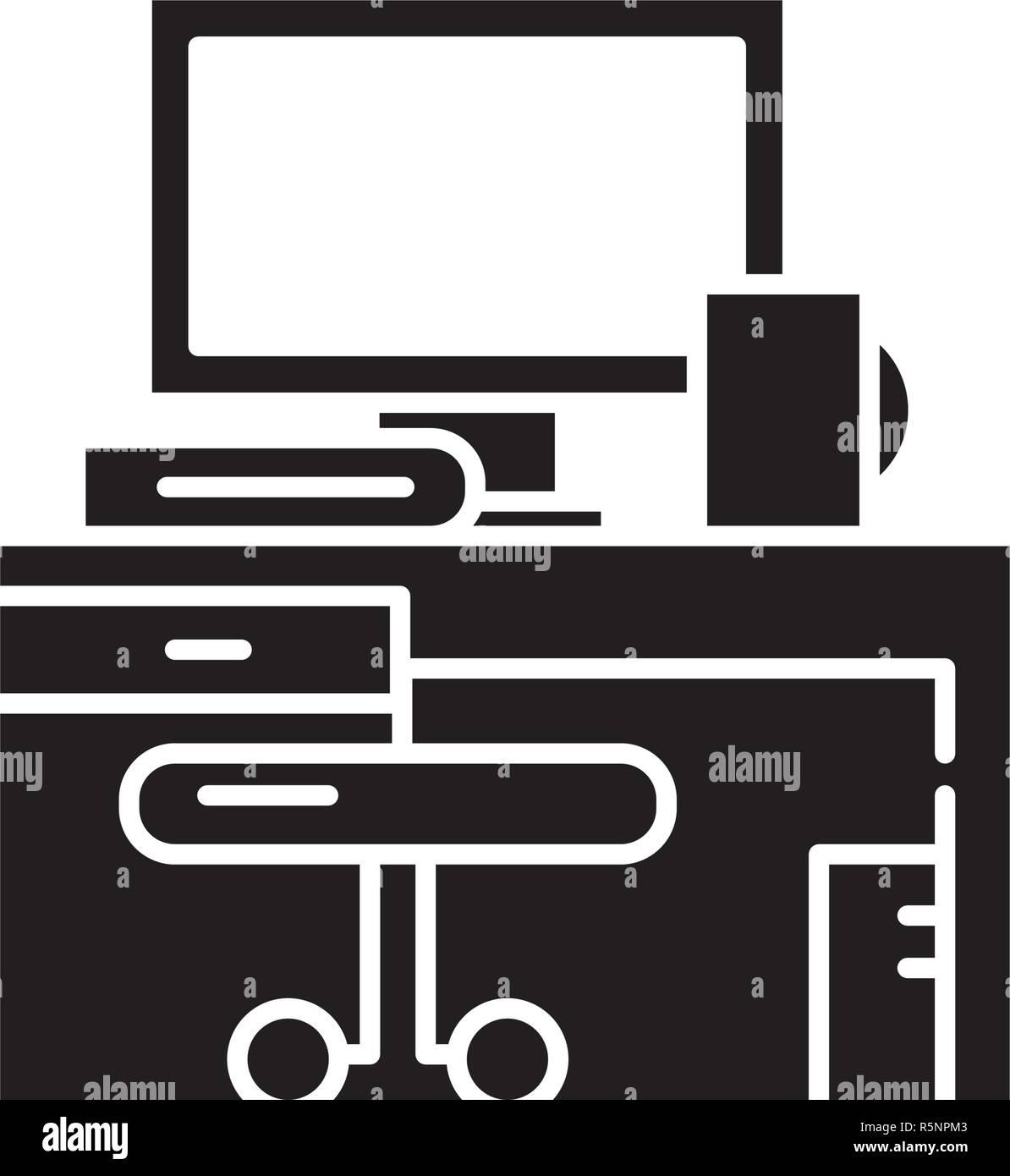 Lieu de travail icône noire, vector signe sur fond isolé. Concept de poste de travail, illustration symbole Illustration de Vecteur
