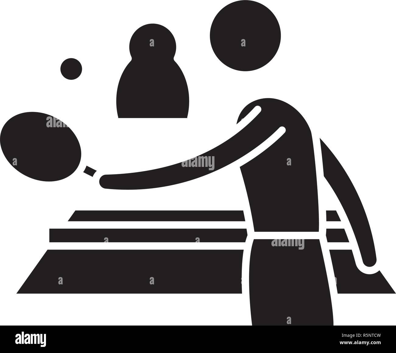 Ping pong jouer icône noire, vector signe sur fond isolé. Ping pong jouer symbole, illustration Illustration de Vecteur