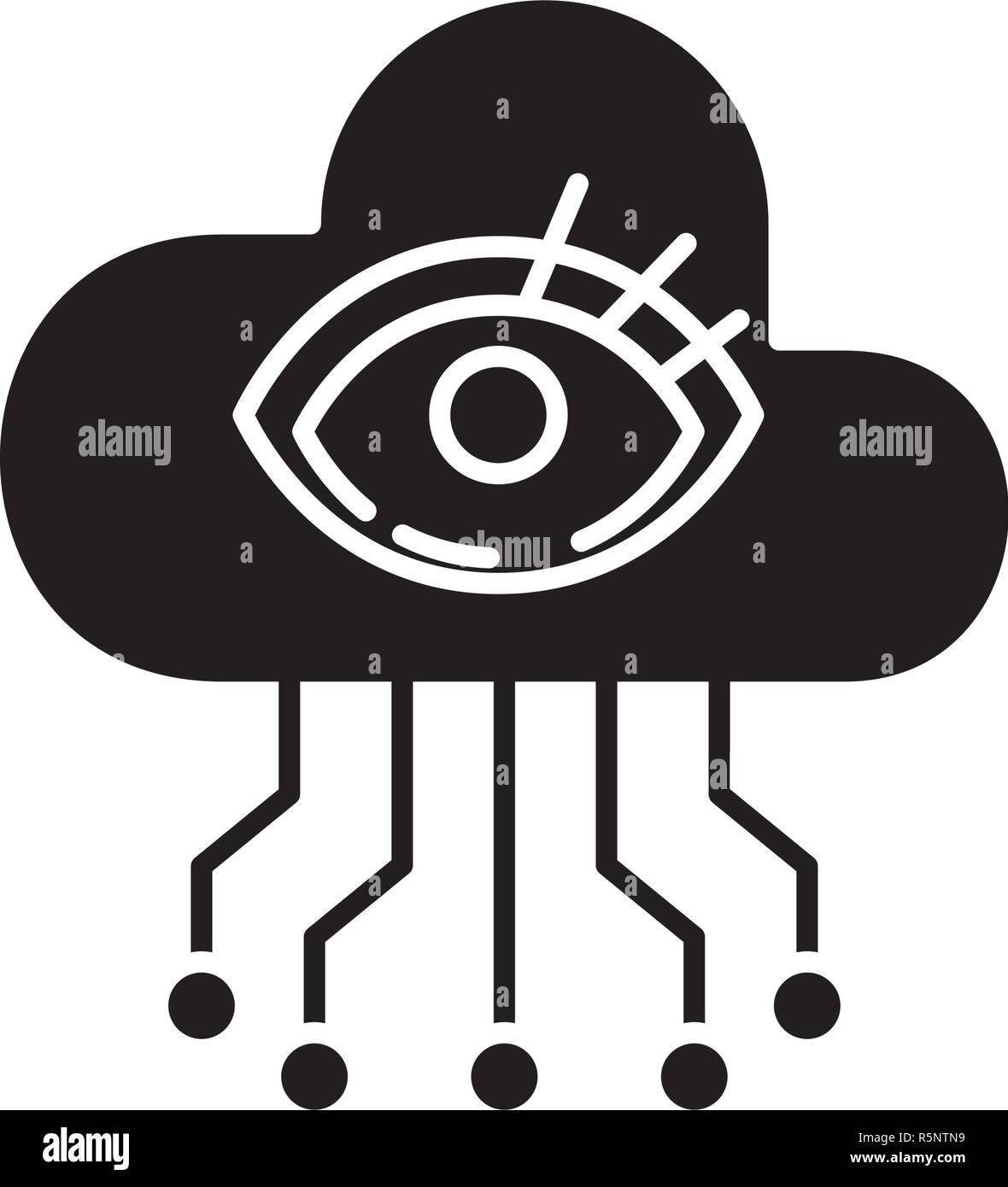 La visualisation de l'intelligence artificielle icône noire, vector signe sur fond isolé. L'intelligence artificielle, illustration symbole concept de visualisation Photo Stock