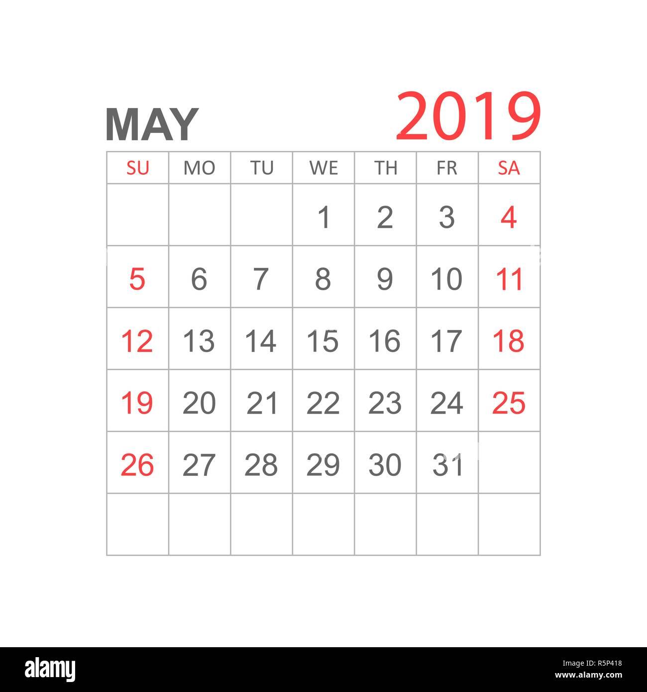 Calendrier Mai2019.Calendrier Mai 2019 Ans Dans Un Style Simple Planificateur