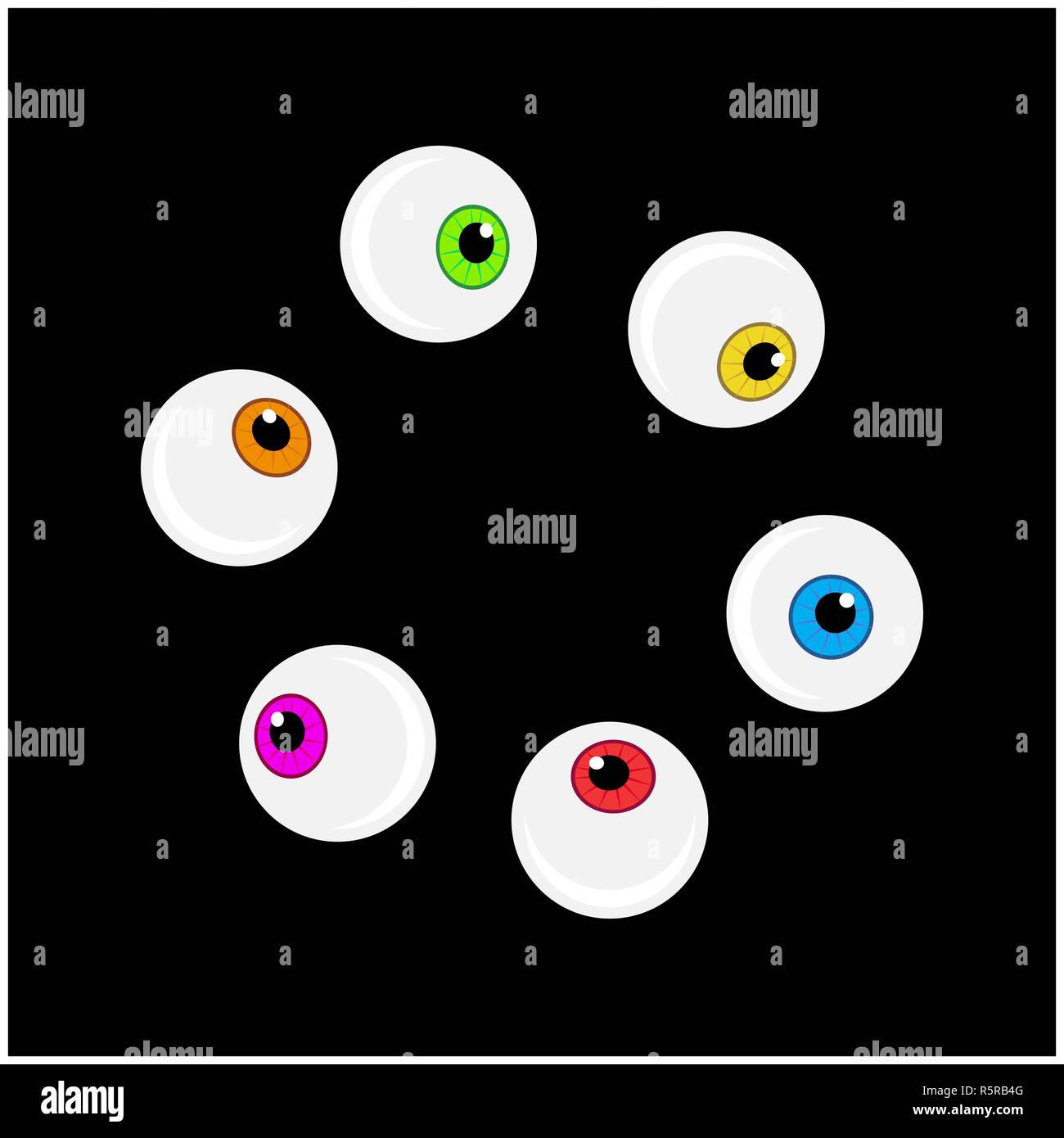 Globe oculaire Halloween jeu de symboles vectoriels. Caricature colorée de l'œil, élève de clipart illustration isolé sur fond noir. Photo Stock