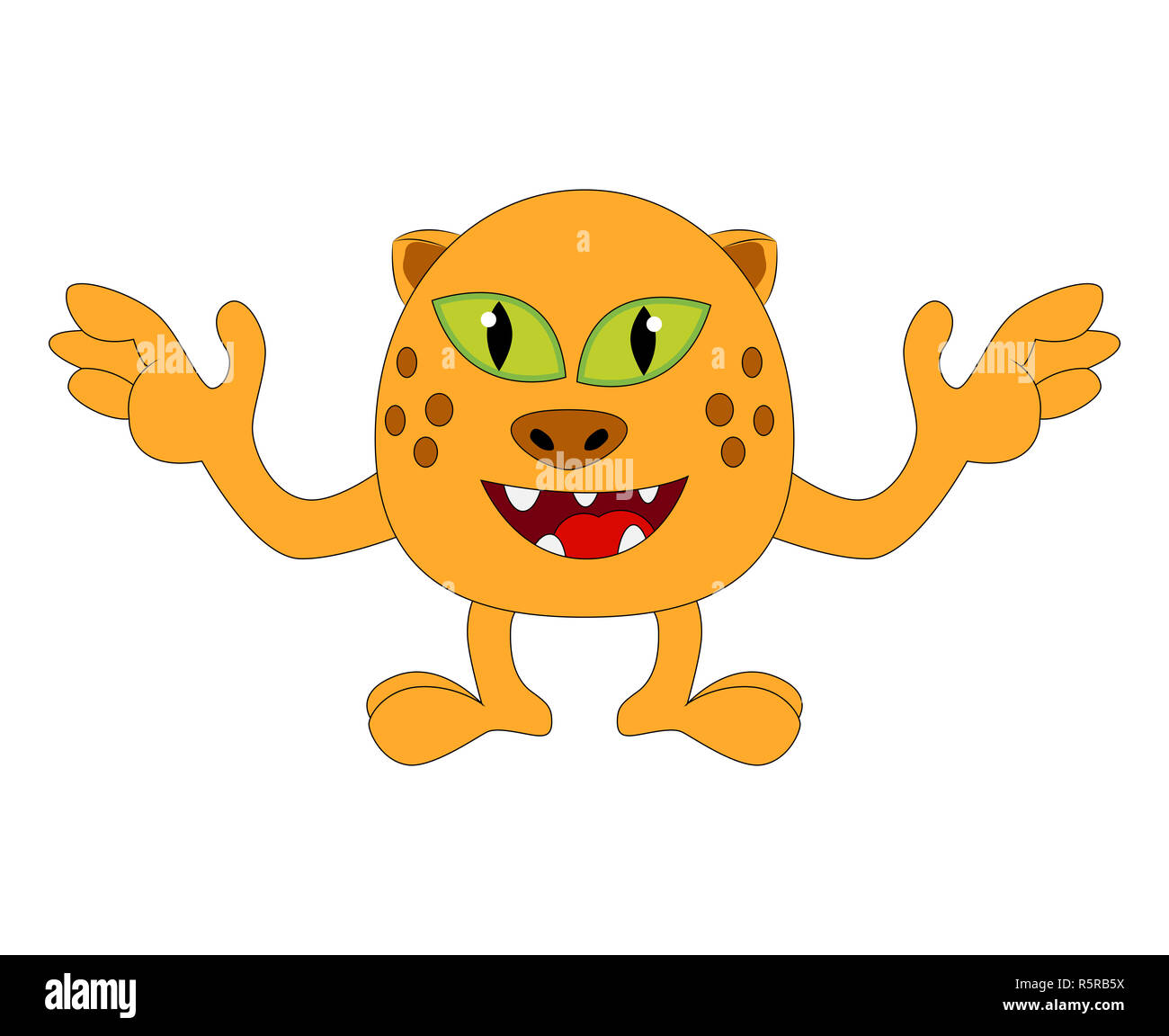 Happy Halloween Monstre De Dessin Anime Drole Cute Tiger Cat Illustration Vectorielle Caractere Isole Sur Fond Blanc Photo Stock Alamy