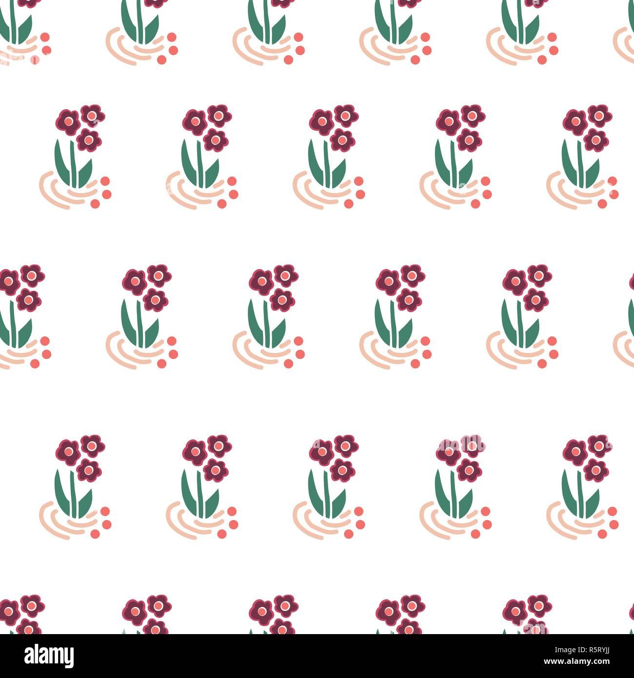 Fleurs Folk Fond Répétant Vectoriel Continu Motif Fleurs