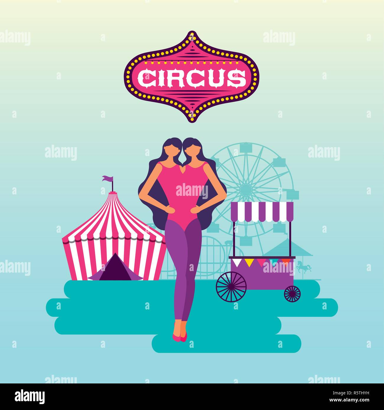 Les jumeaux unitted cirque stand tente vector illustration Photo Stock
