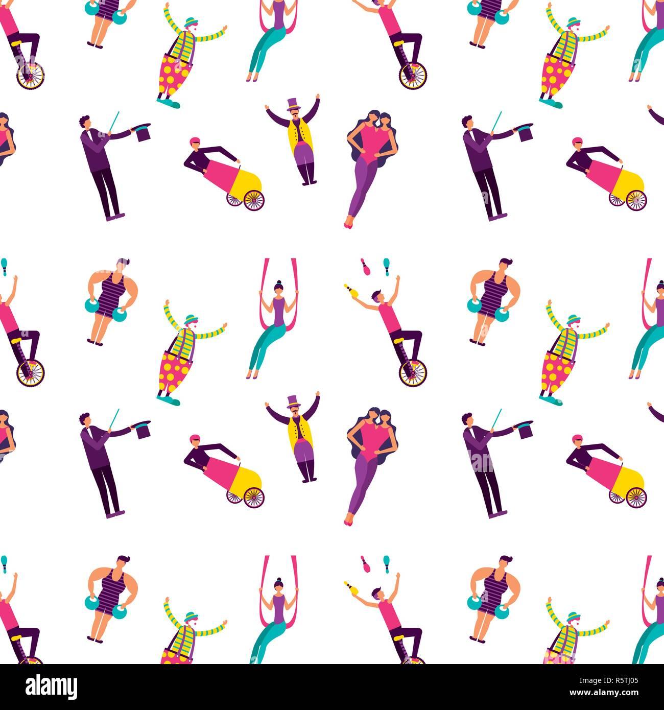 Circus acrobats unitted twins faire illustraiton vecteur d'acrobatie Photo Stock