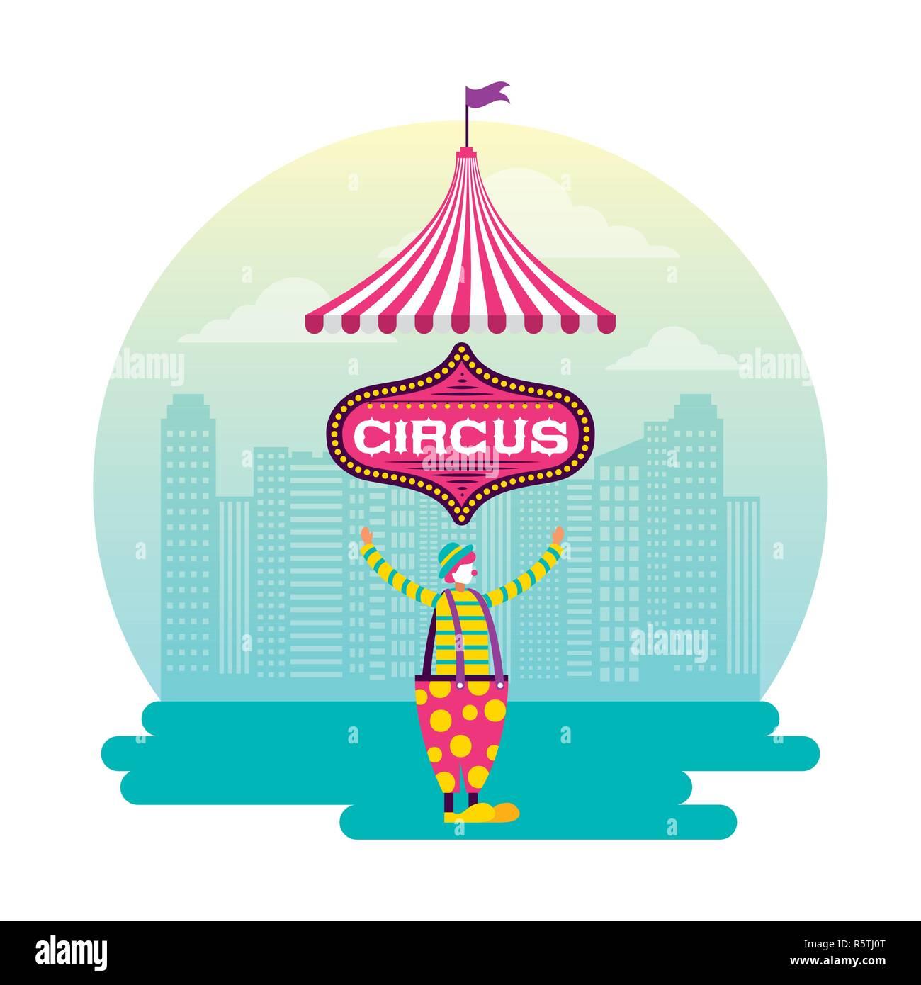 Sticker Cirque Clown Jongleur Ville Vector Illustration Vecteurs