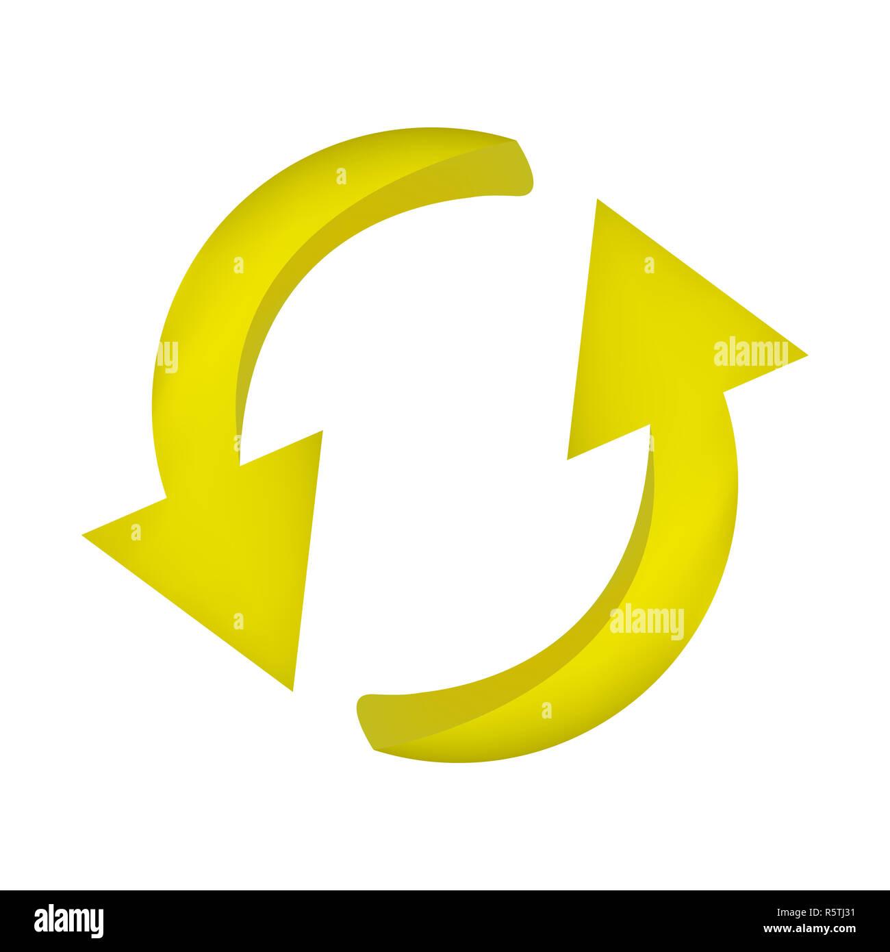 Symbole de flèche, l'icône jaune cycle clipart concept d'entreprise. Vector illustration isolé sur fond blanc. Photo Stock