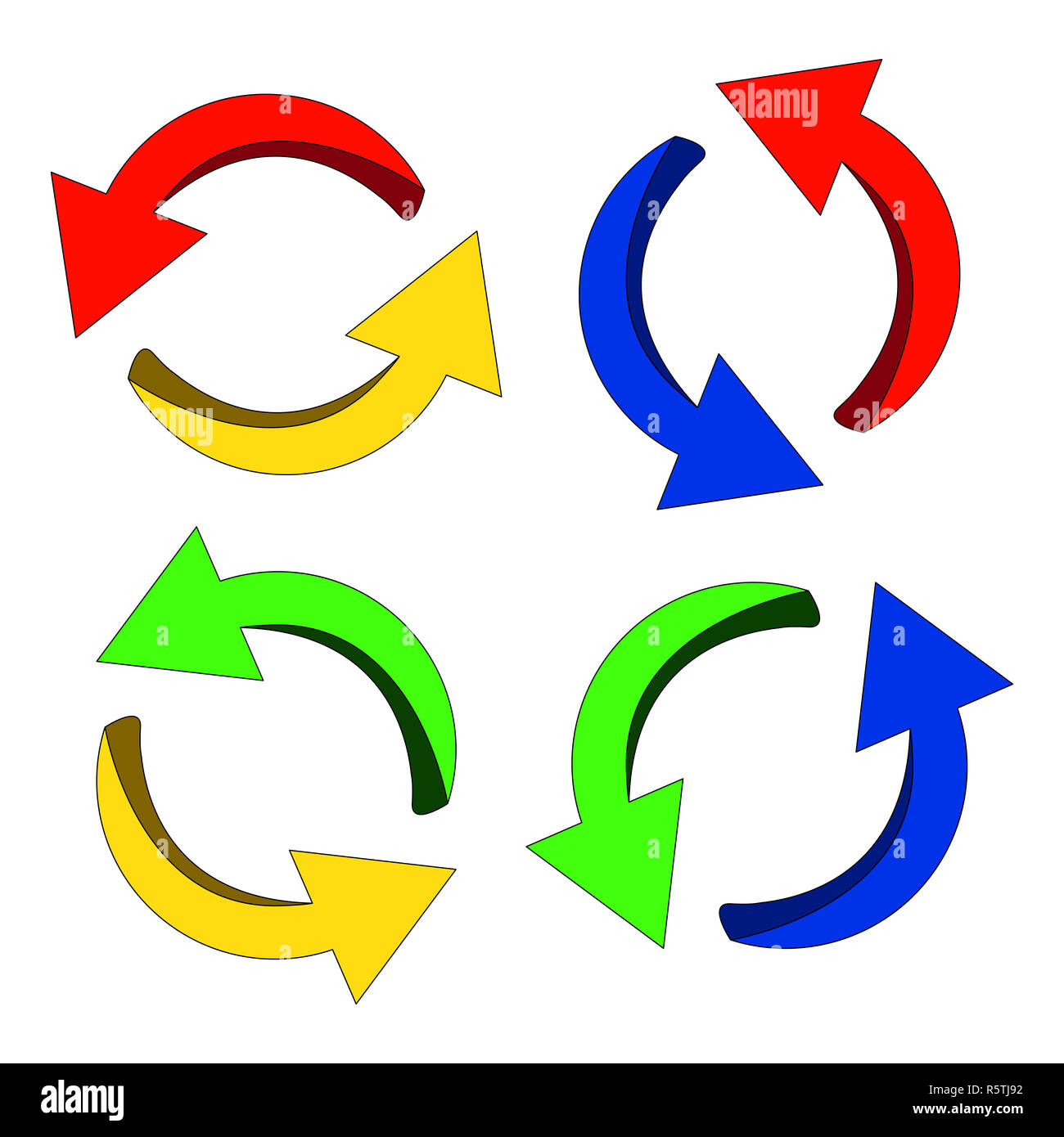 Symbole de flèche, l'icône colorée cycle clipart concept d'entreprise. Vector illustration isolé sur fond blanc. Photo Stock