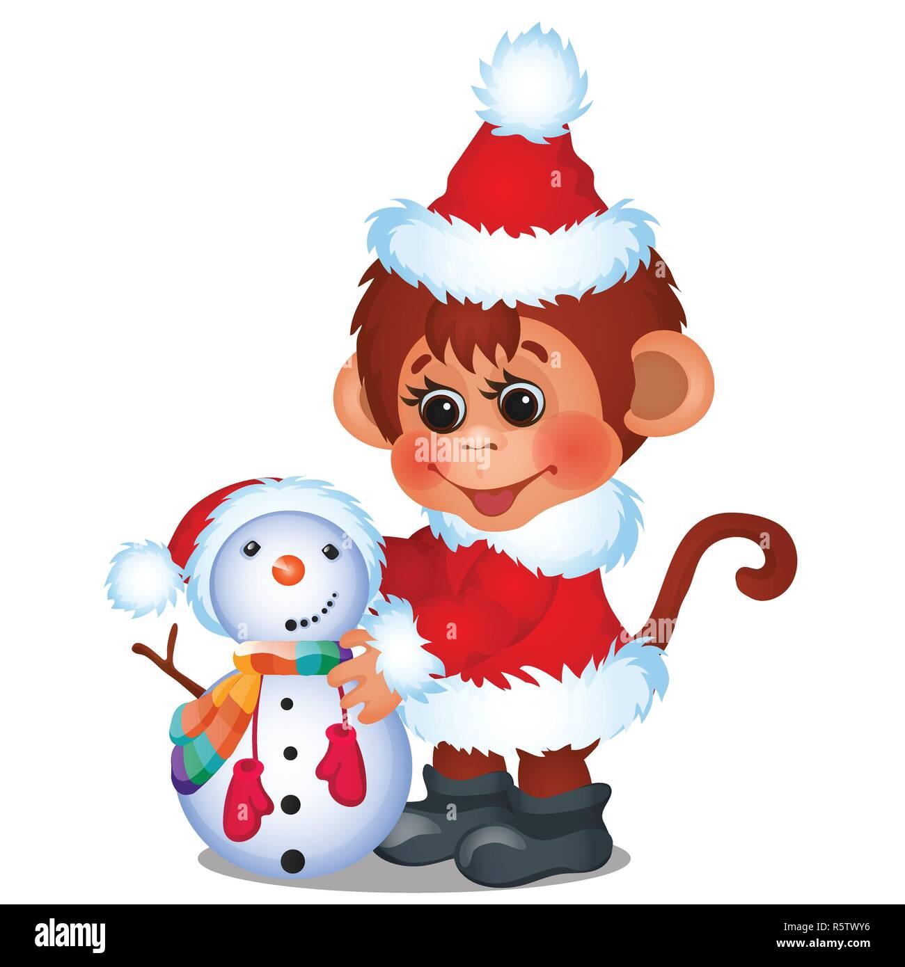 2bfce15eb077 Singe mignon habillé en père Noël sculpte bonhomme isolé sur un fond blanc.  Croquis de l affiche de la fête de Noël, invitation à une fête, d autres  carte ...