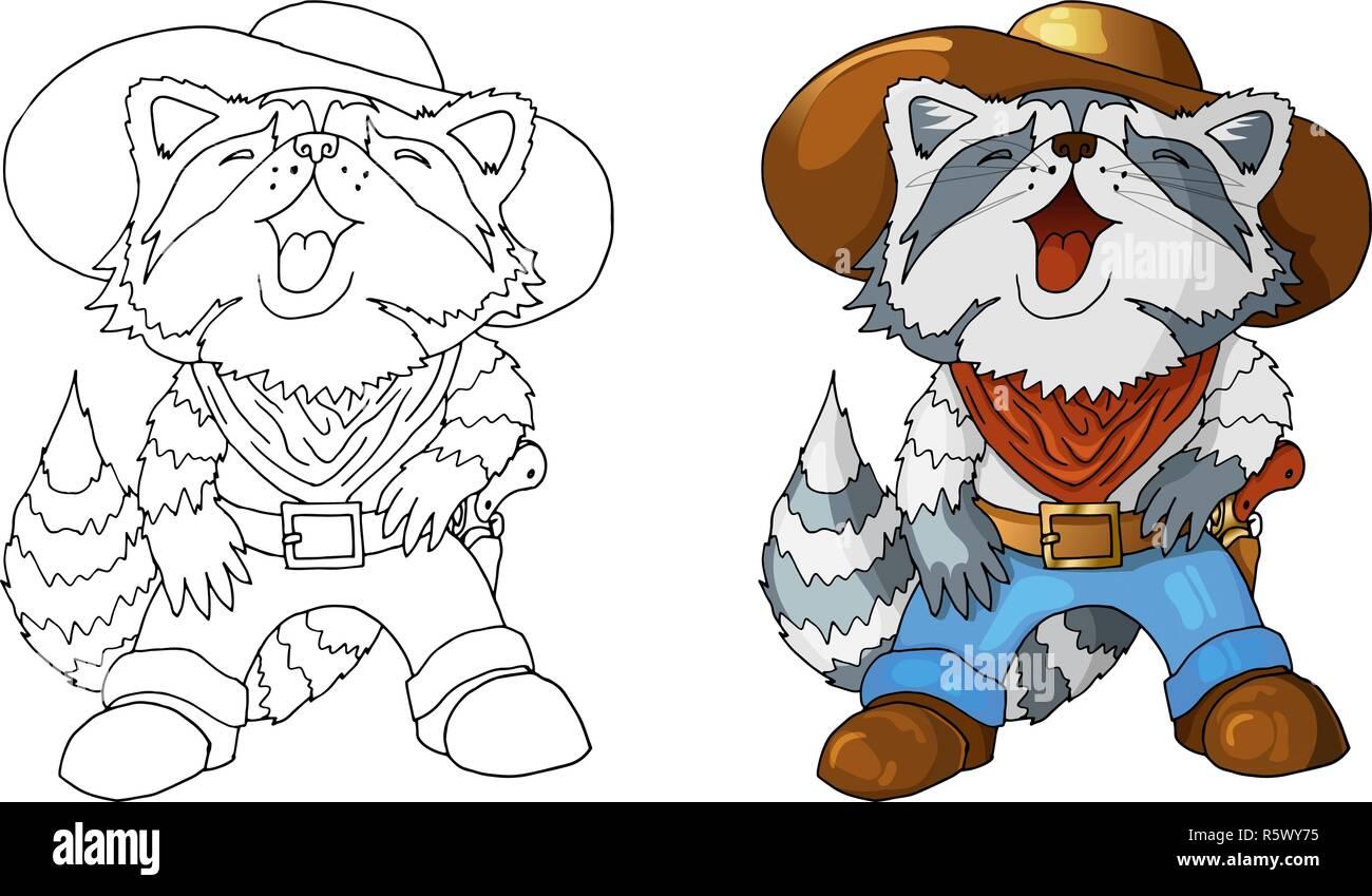 Seul personnage american cowboy rire raton laveur coloriage isolés Illustration de Vecteur