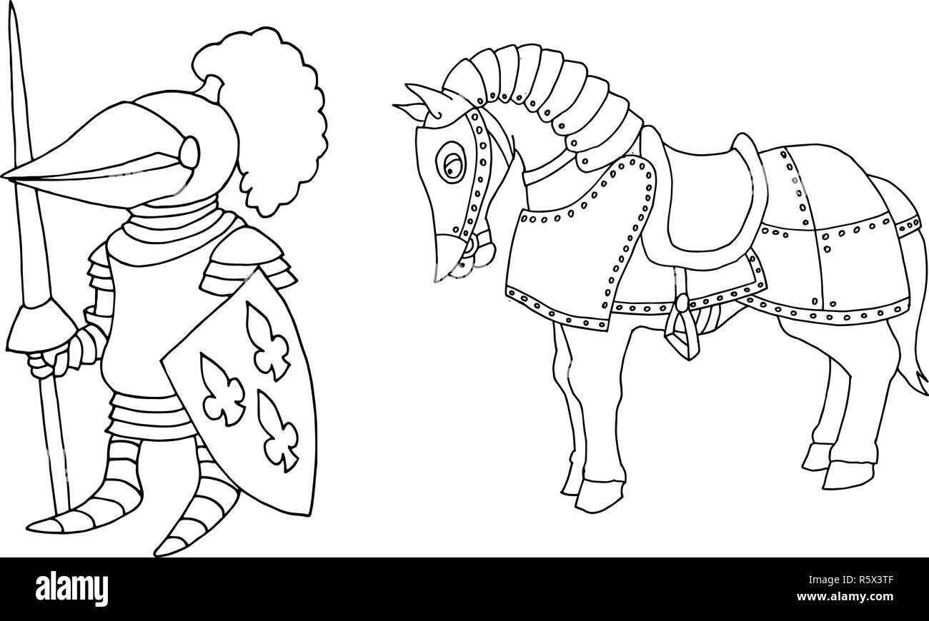 Coloriages De Cartoon Chevalier Medieval A Prepering Tournoi Chevalier Image Vectorielle Stock Alamy