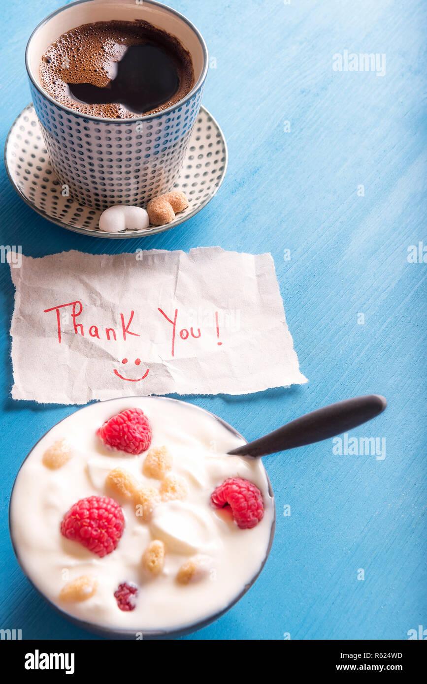 Message de remerciement et petit déjeuner Photo Stock