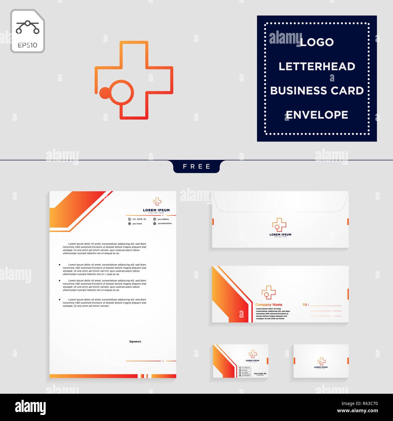 Croix Medicale Modele Logo Vector Illustration Et Une En Tete Enveloppe Carte De Visite Design