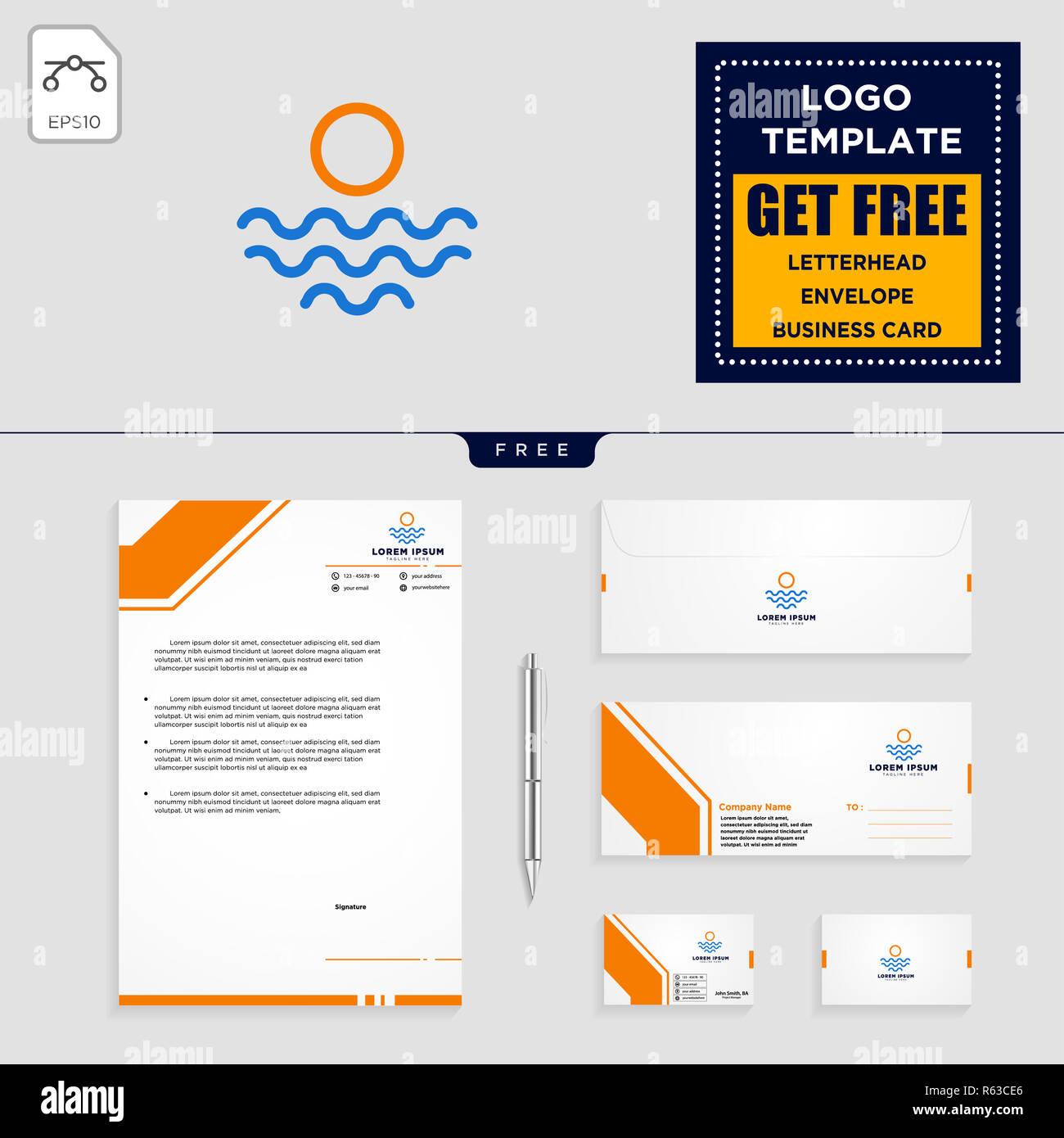 Plage Vacances Paysage Modele Logo Vector Illustration Et Une En Tete Enveloppe Carte De Visite Design