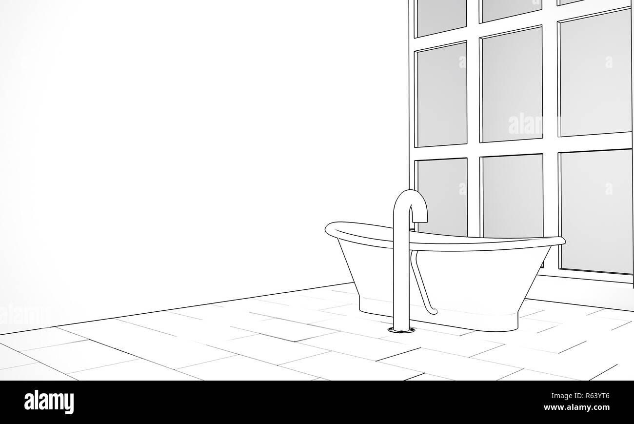 Plume Et Encre, Esquisse Du0027une Salle De Bains Design Avec Une Baignoire Sur  Pieds En Forme De Bateau Et De Haute Taille Fenêtre. Le Rendu 3D