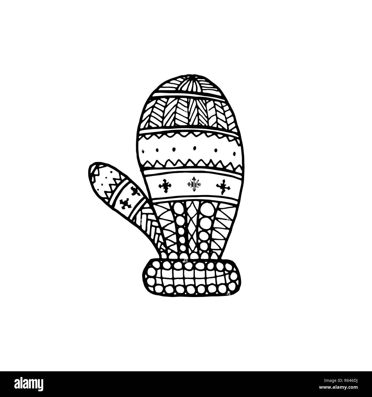 Noël Vecteur Symbole Décoratif Moufle Dessin à La Main De Noël