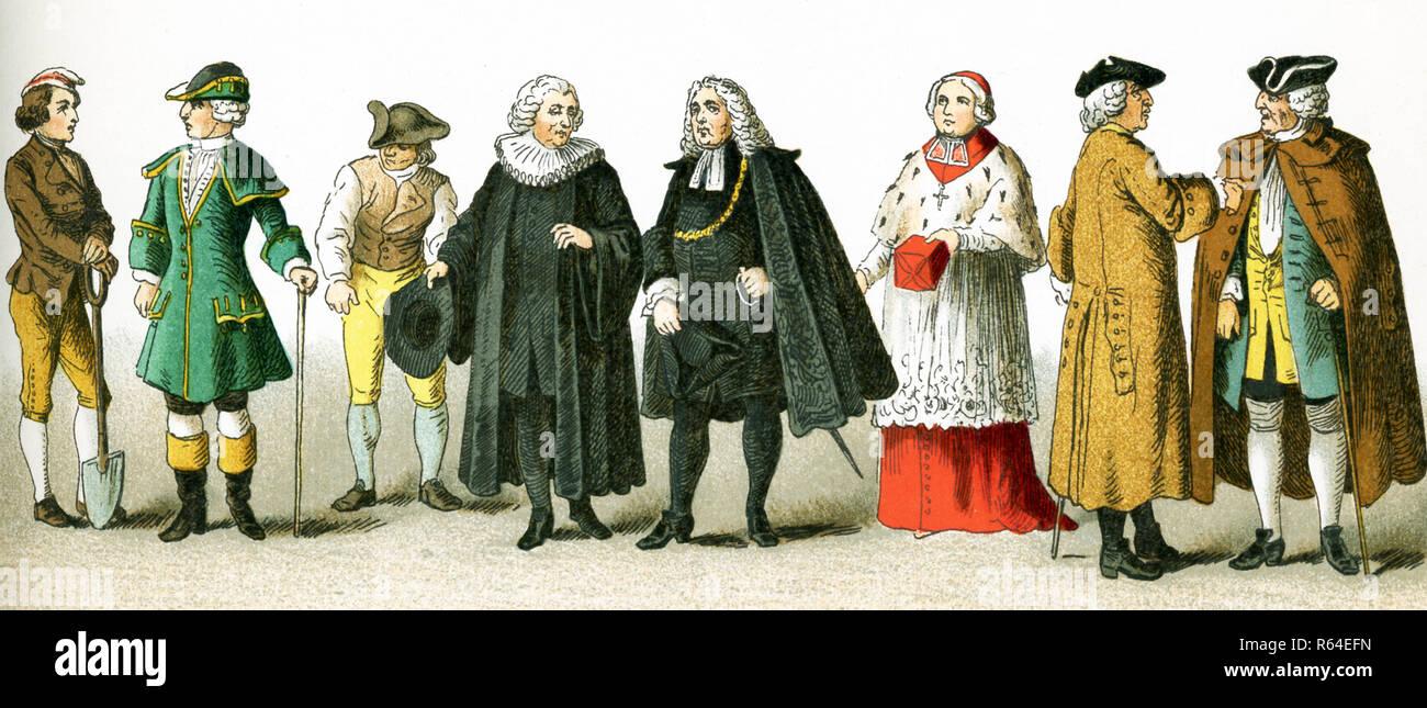 Les chiffres photo ici sont les Allemands en 1700. Ils sont, de gauche à droite: paysan, voyageant, costume paysan, pasteur protestant, le costume de la magistrature, l'évêque, deux citoyens. Cette illustration dates pour 1882. Photo Stock