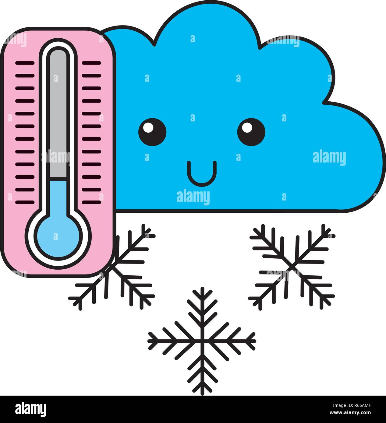 Thermomètre D Hiver Nuage Kawaii Cartoon Vecteurs Et Illustration