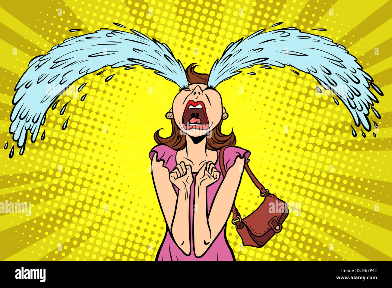 Femme Drole A Pleurer La Grosses Larmes Photo Stock Alamy