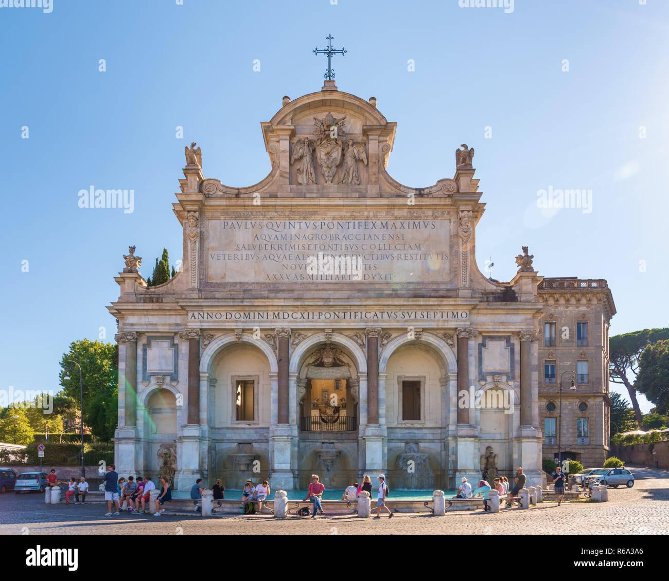 Fontana dell'Acqua Paola, Gianicolo, Rome, Italie Banque D'Images