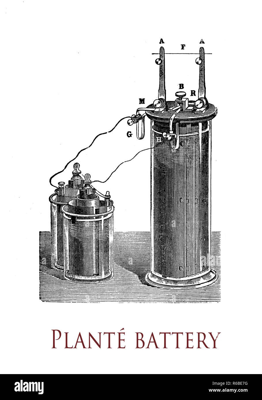 L'électricité et les applications de laboratoire: première batterie acide-plomb inventé par Gaston planté en 1859,l'électrode négative est faite de plomb, tandis que l'électrode positive est faite d'oxyde de plomb Photo Stock