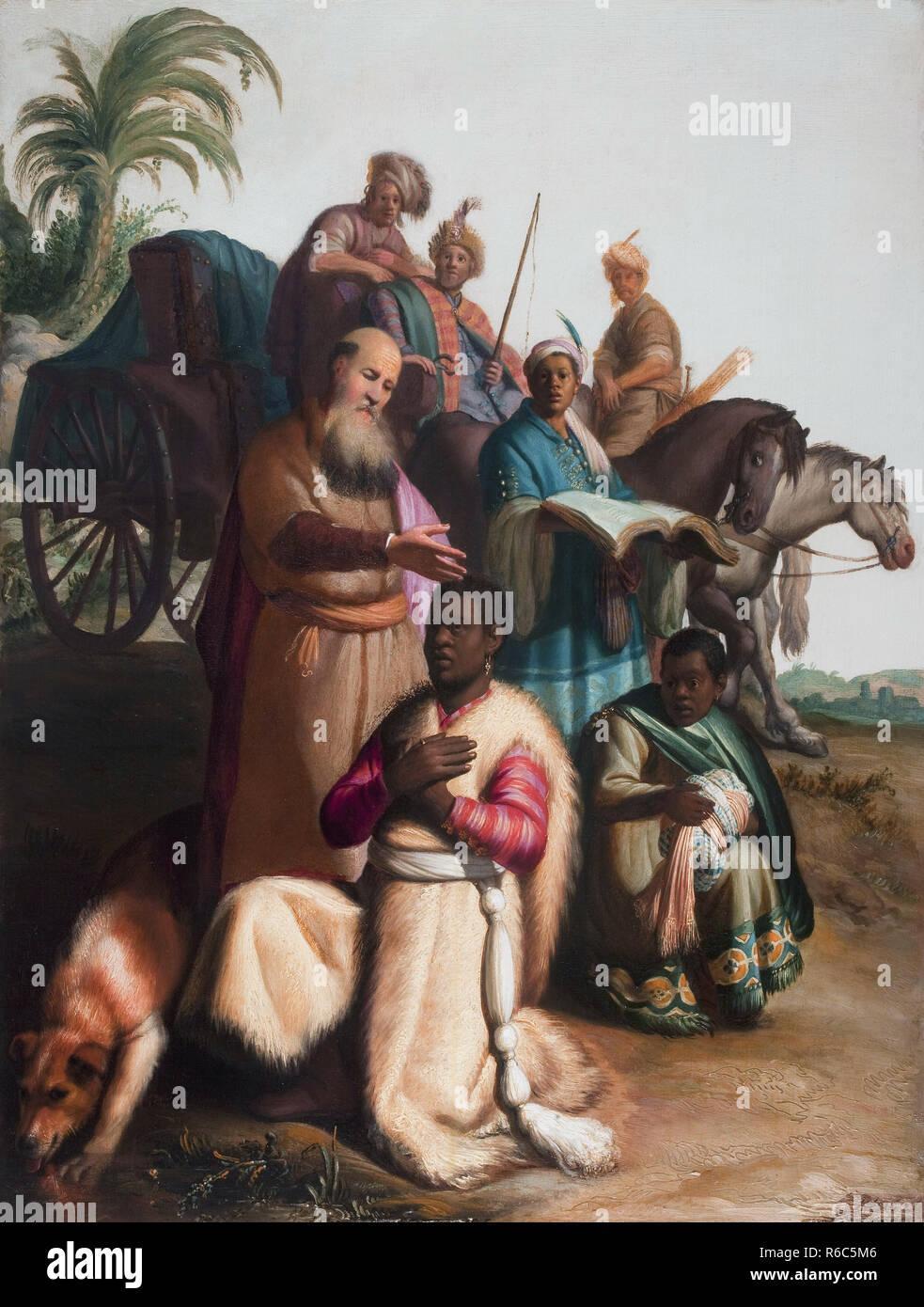 Le baptême de l'eunich *huile sur panneau 63,5 x 48 cm * *signé b.r.: RH 1626 Banque D'Images