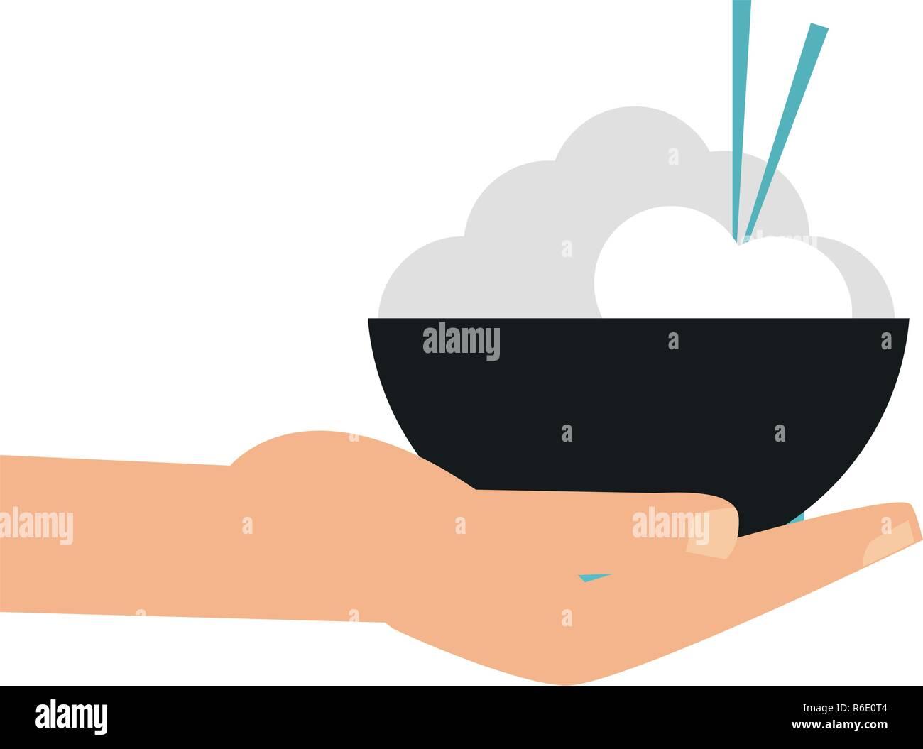 Dans un bol de riz avec la main Illustration de Vecteur