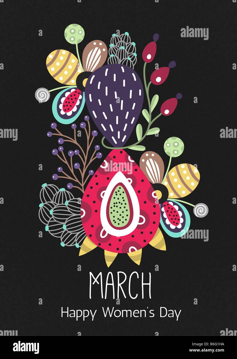 8 Mars Bonne Journee De La Femme Figure Fleurs