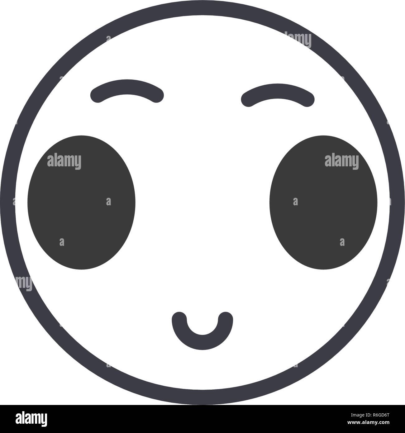 Ouvrir les yeux japonais concept line Emoji vecteur modifiable, concept icône. Ouvrir les yeux japonais concept Emoji illustration émotion linéaire Illustration de Vecteur