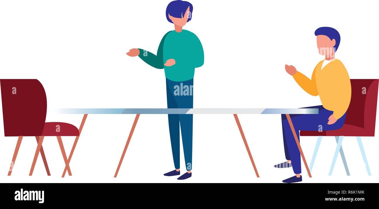 Groupe de travail des hommes d'une table et de chaises vector illustration Illustration de Vecteur