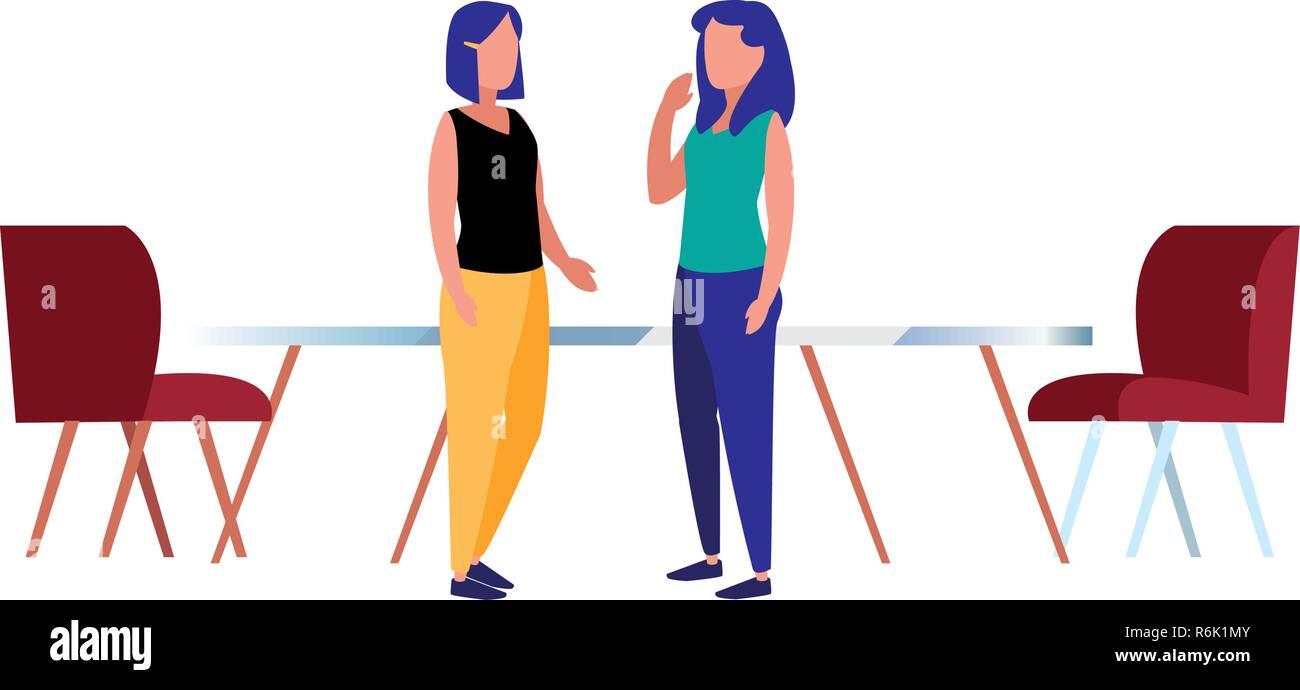 Les femmes d'affaires du milieu de table et chaises vector illustration Illustration de Vecteur