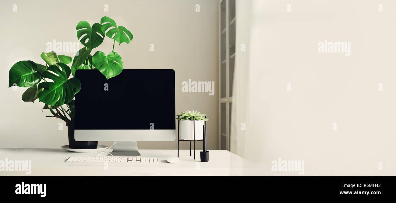 Designer espace de travail. bannière. accueil minimaliste office