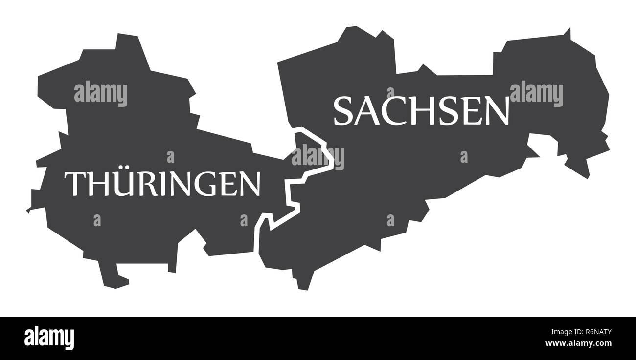 Carte Allemagne Thuringe.Thuringe Saxe Etats Federaux Carte De L Allemagne Avec Des Titres