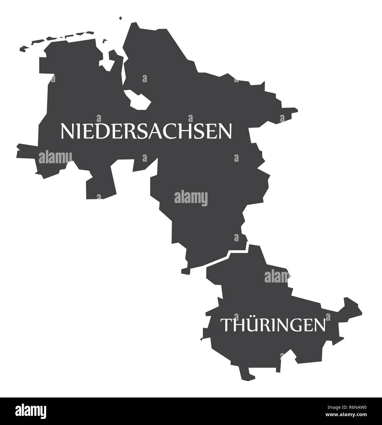 Carte Allemagne Thuringe.Basse Saxe Thuringe Etats Federaux Carte De L Allemagne Avec Des
