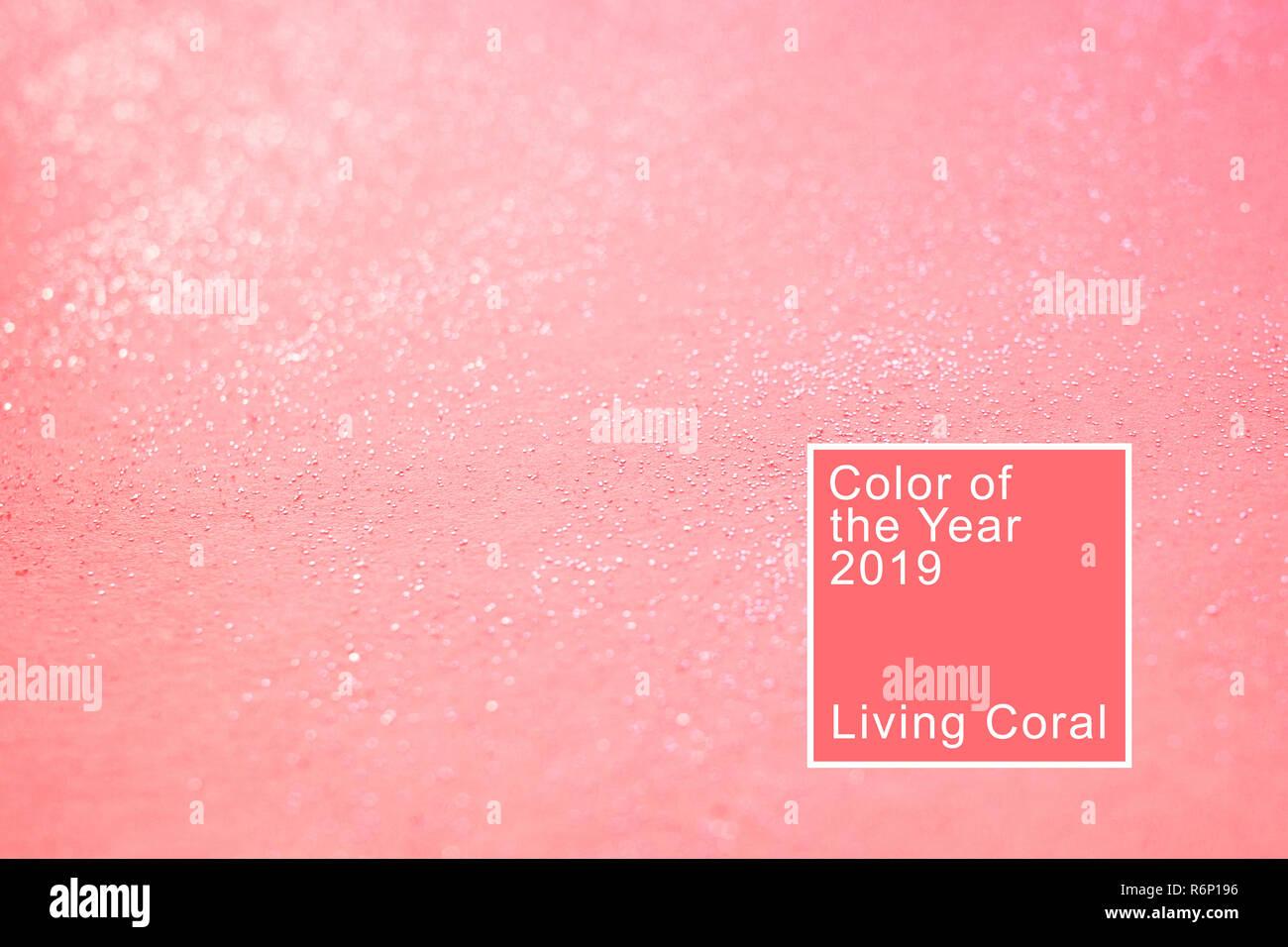 Arrière-plan de corail avec des paillettes. Corail vivant. Couleur de l'année 2019. Photo Stock