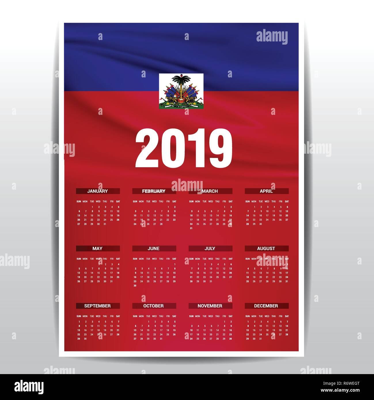 Calendrier 2019 Fete.Calendrier 2019 Drapeau Haiti L Arriere Plan Langue Anglais