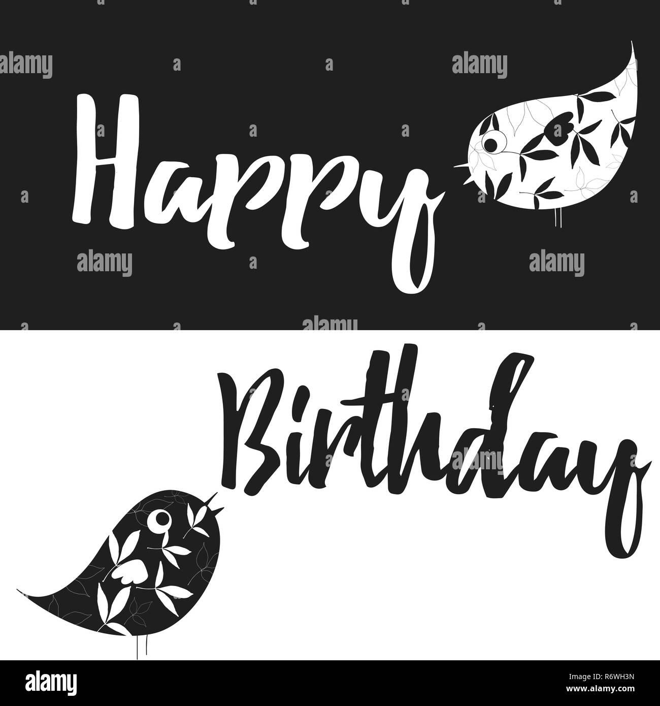 Joyeux Anniversaire Noir Et Blanc Carte Vecteur Illustration Avec
