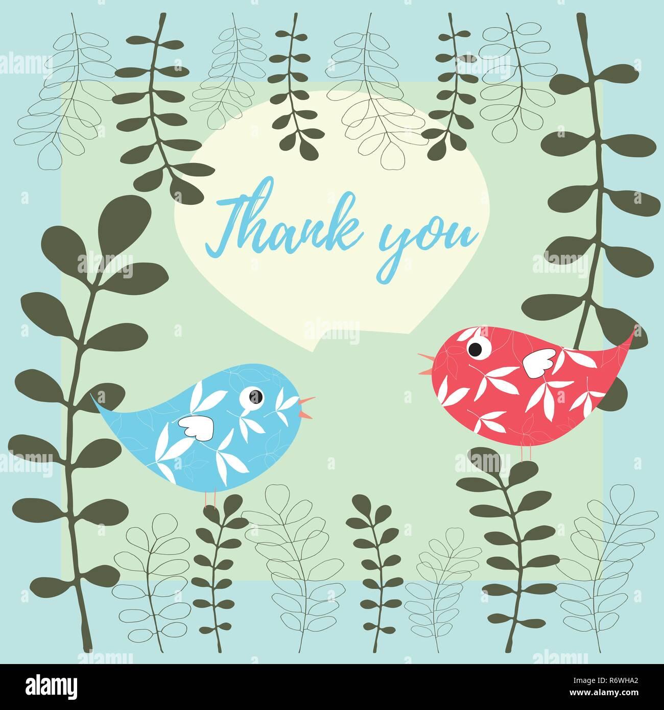 Merci Carte Vecteur Illustration Avec Les Oiseaux Et Les Feuilles En