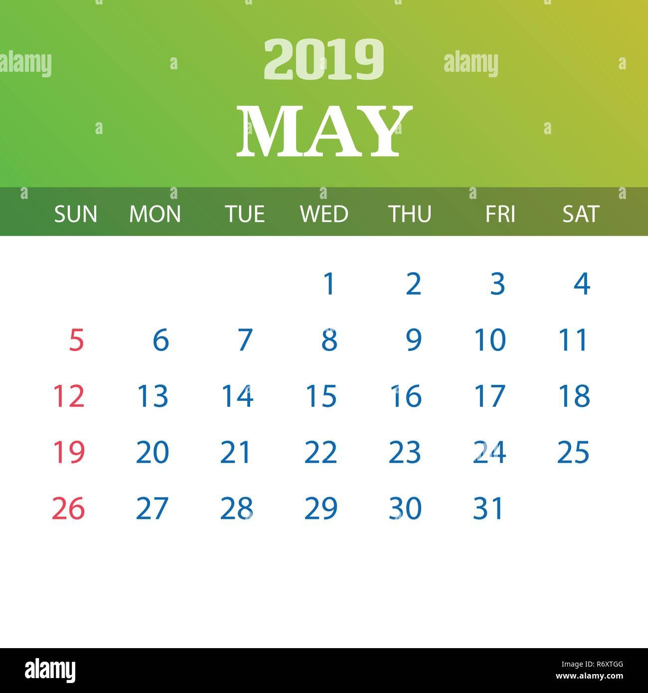Mai Calendrier 2019.Modele De Calendrier 2019 Mai Vecteurs Et Illustration