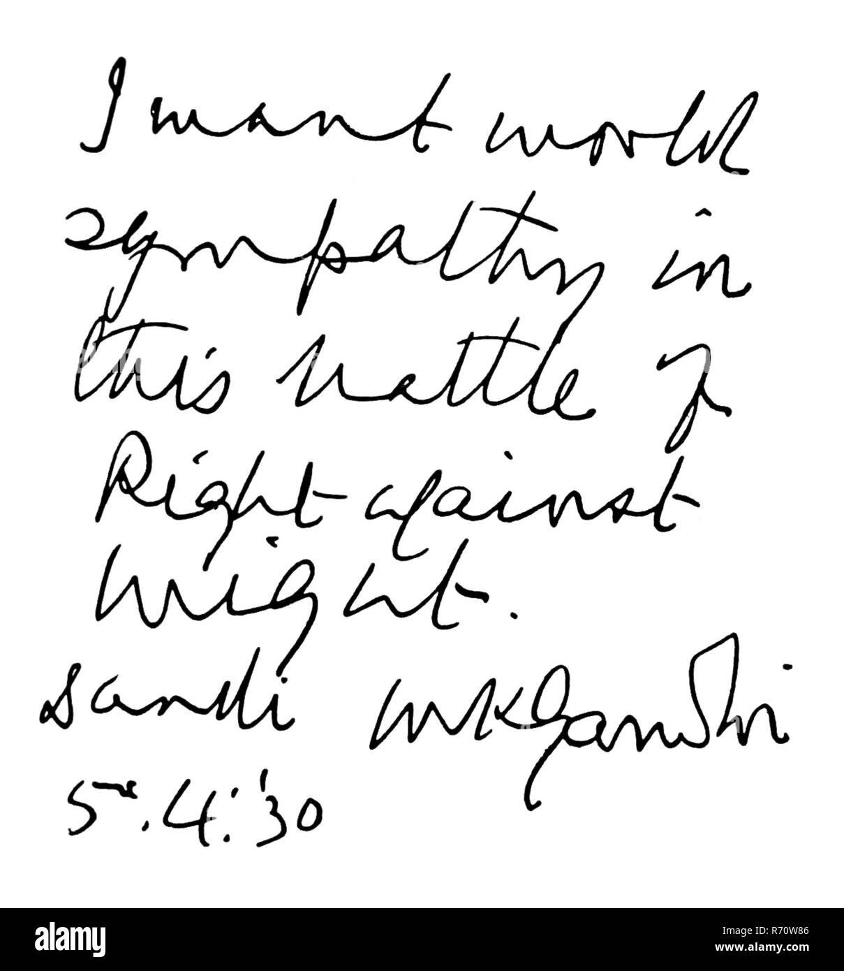 'Je veux la sympathie du monde dans cette bataille du droit contre la force. M.K. Gandhi, Dandi 5.4.'30' - AUTORISATION MODÈLE NON DISPONIBLE Photo Stock