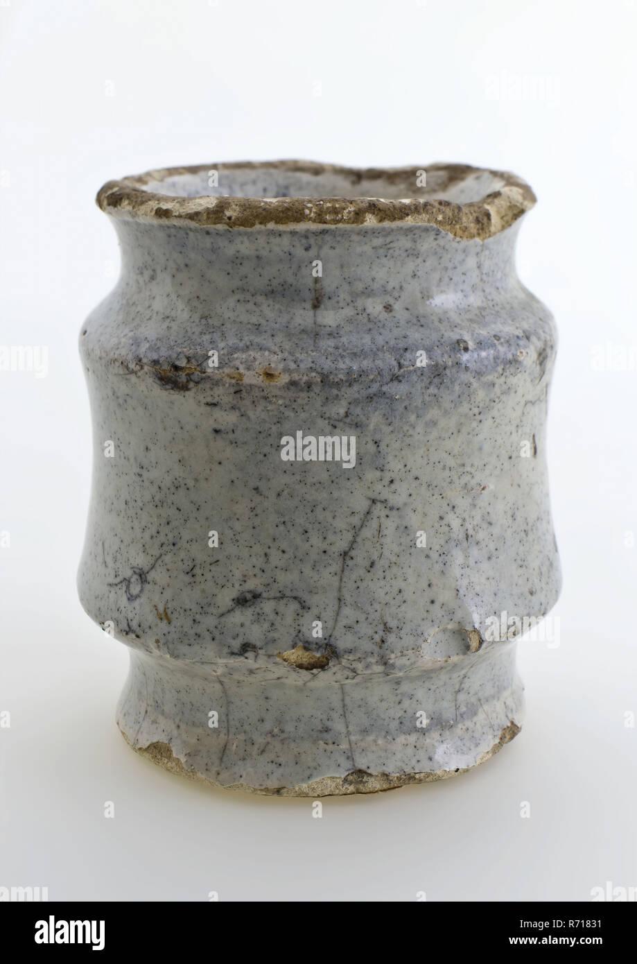 Couleur Porte Interieur Blanc Gris pot d'onguent de poterie, modèle haut entièrement vitrée, en