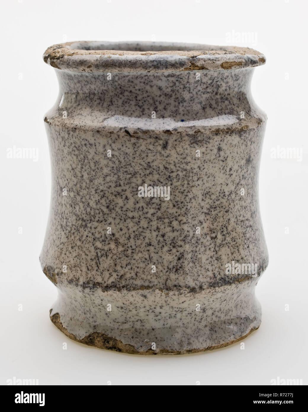 Couleur Porte Interieur Blanc Gris pot d'onguent de poterie, modèle haut, glacé avec pleine