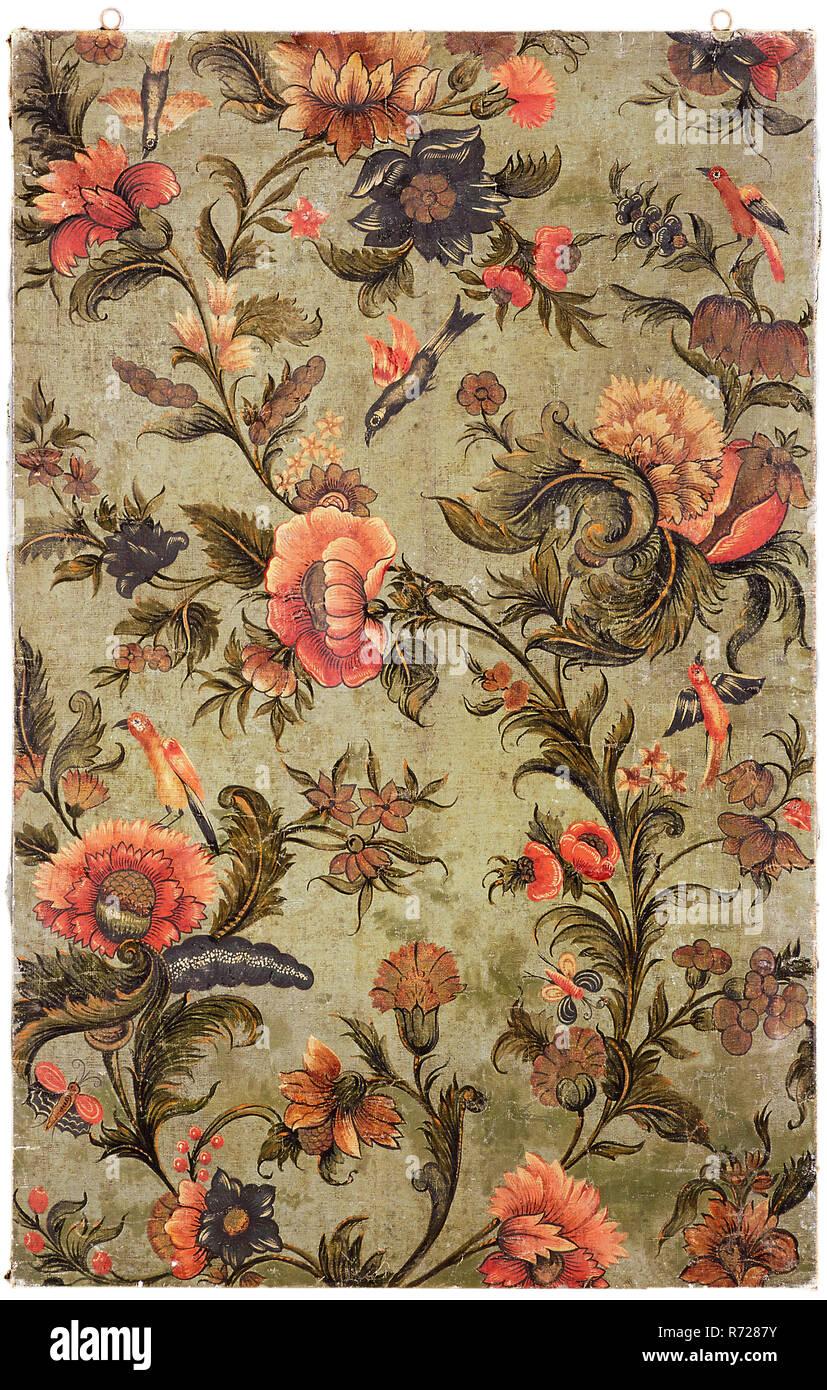 Peindre Papier Peint Motif papier peint de motifs floraux et d'oiseaux, peinture papier
