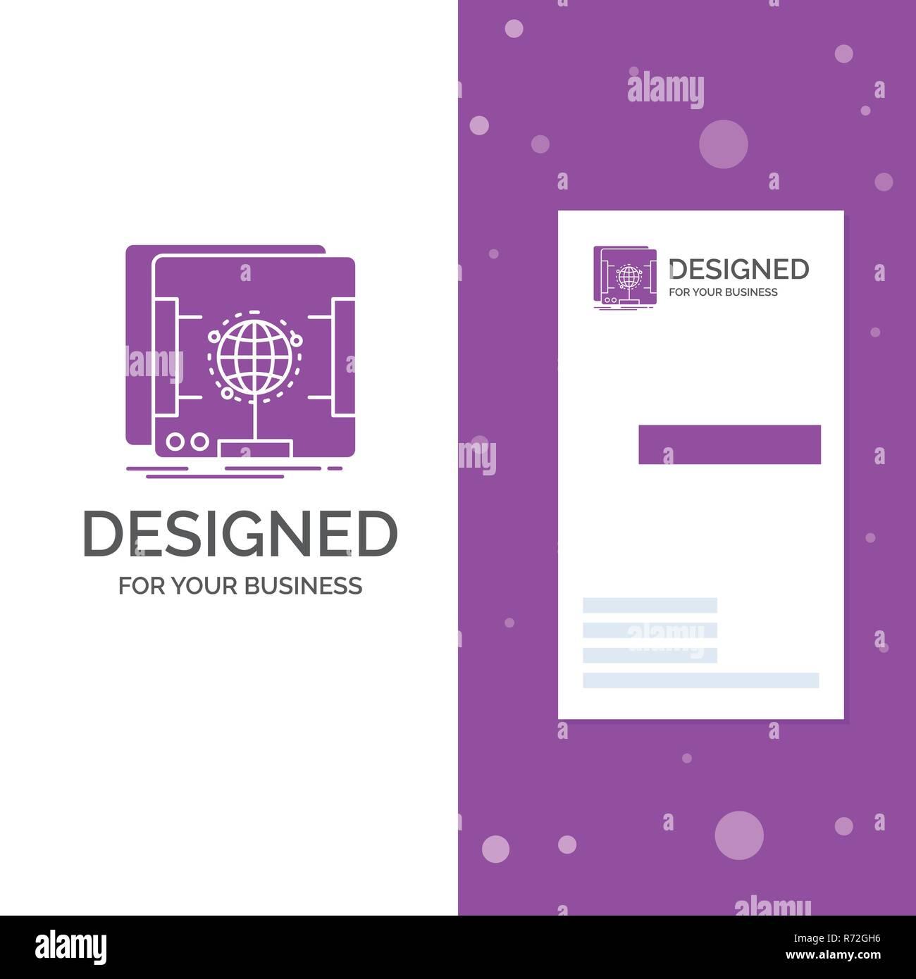 Logo Dentreprise Pour La 3d Dimensions Holographique Scanner Lentreprise Violet Verticale Modele De Carte Visite