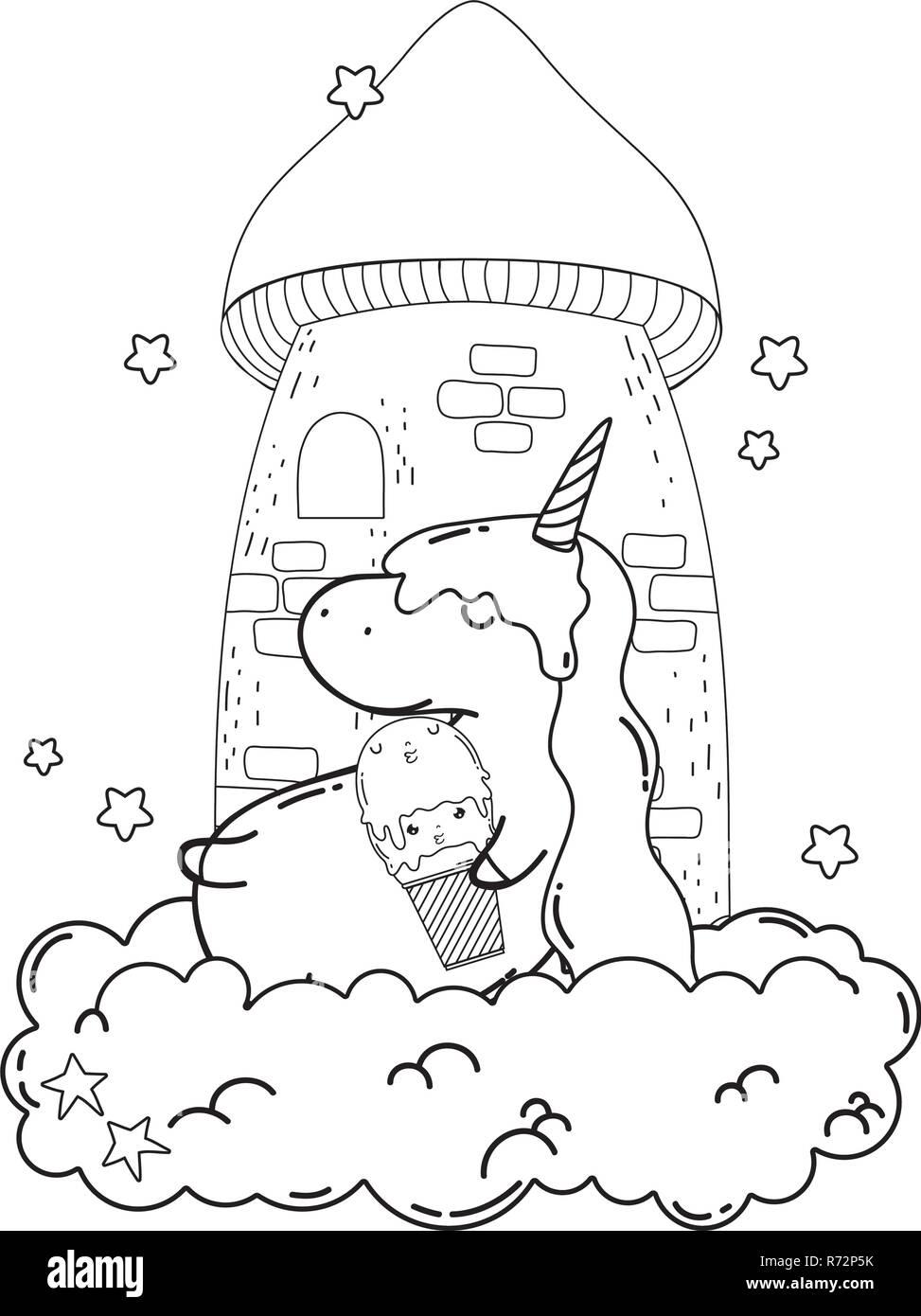 Unicorn Cute Kawaii Avec De La Crème Glacée Vecteurs Et