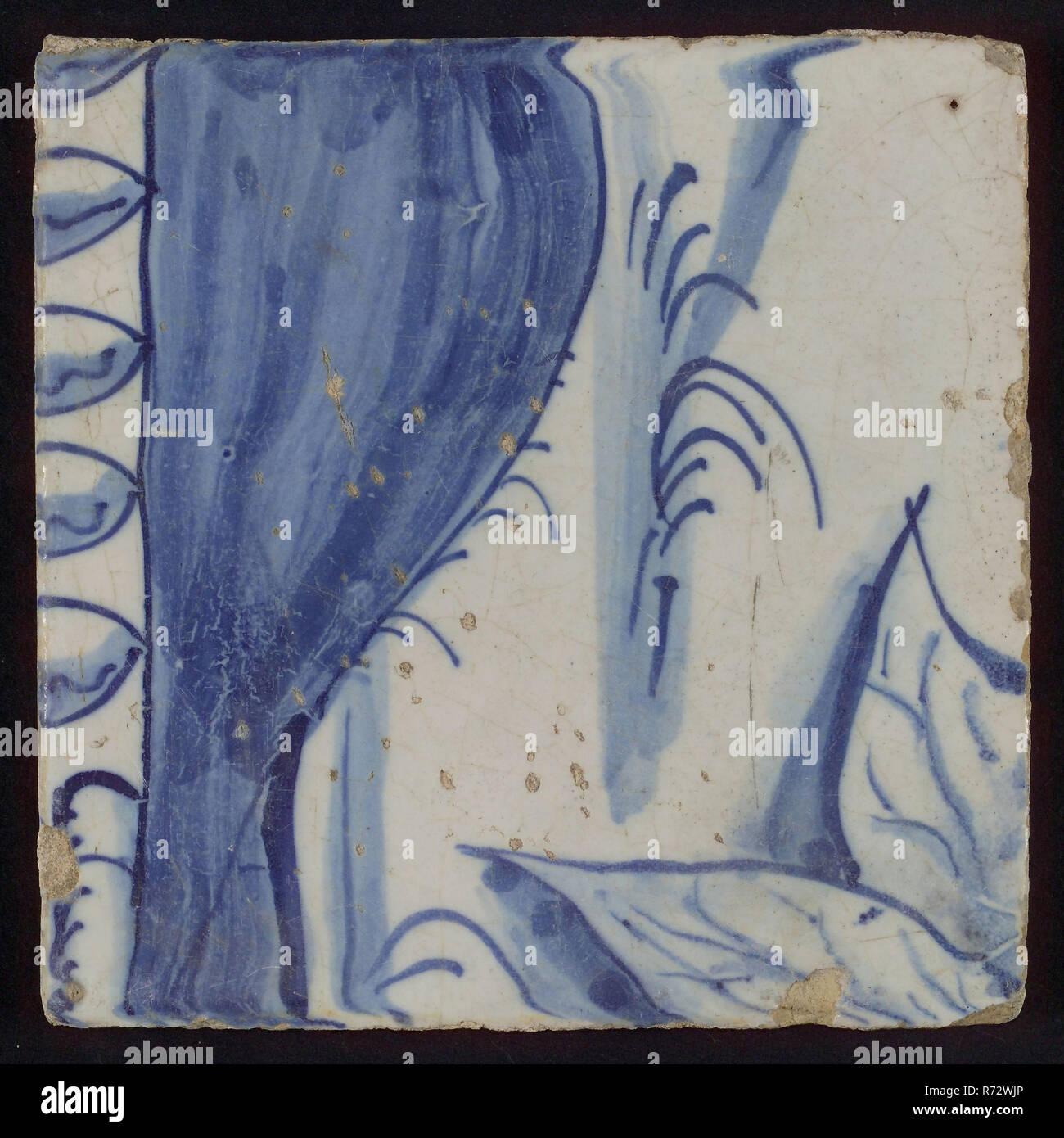 Carreau Avec Dessin Bleu Le Carrelage Céramique Fragment