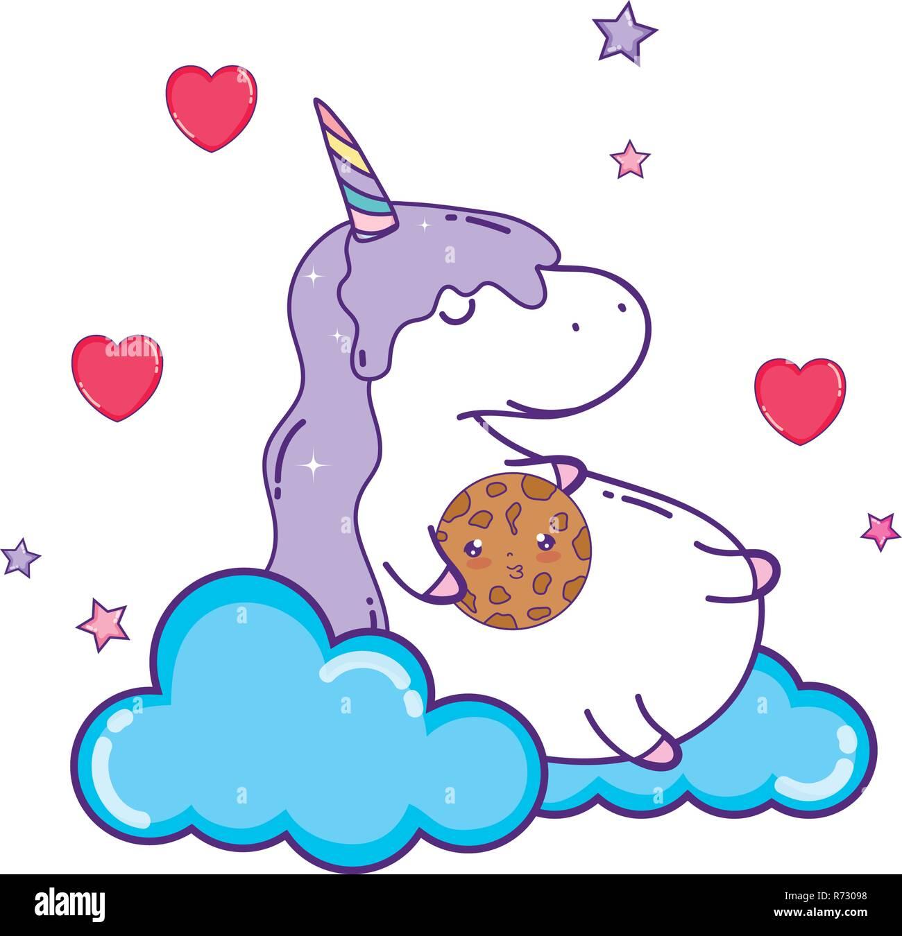Unicorn Mignon Avec Caractère Kawaii Cloud Vecteurs Et