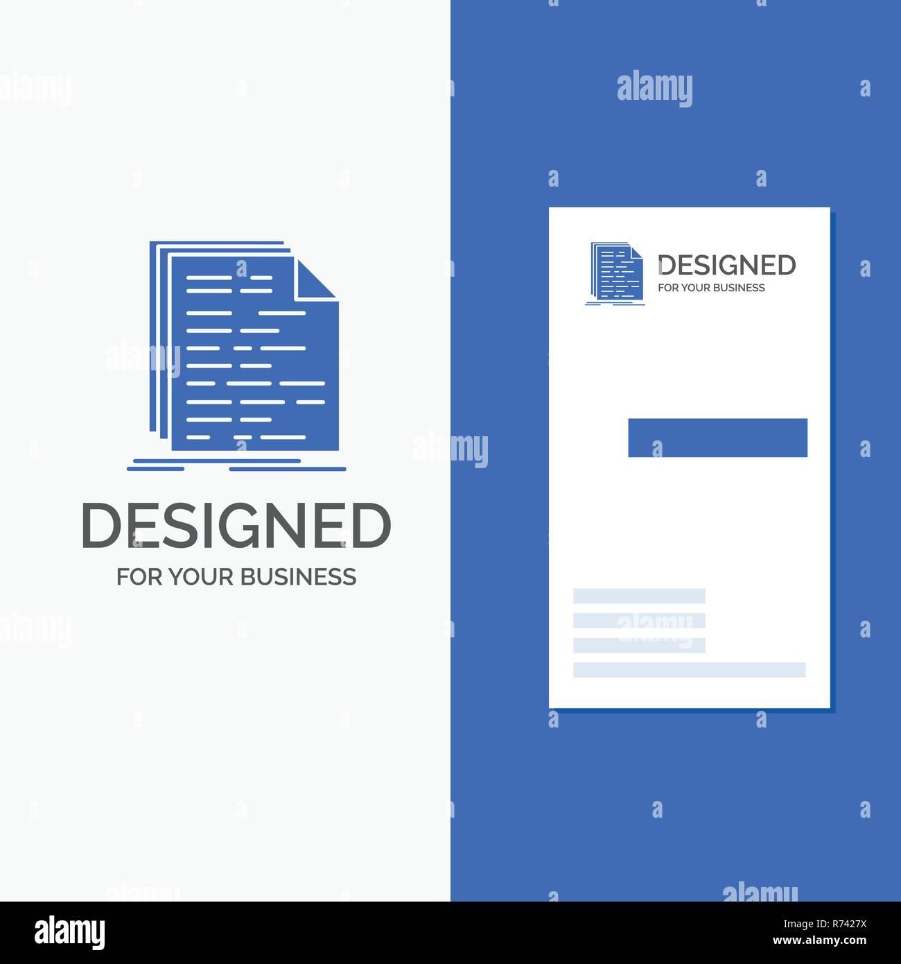 Logo Dentreprise Pour Le Code Codage Doc Programmation Script Bleu Vertical Affaires Modele De Carte Visite