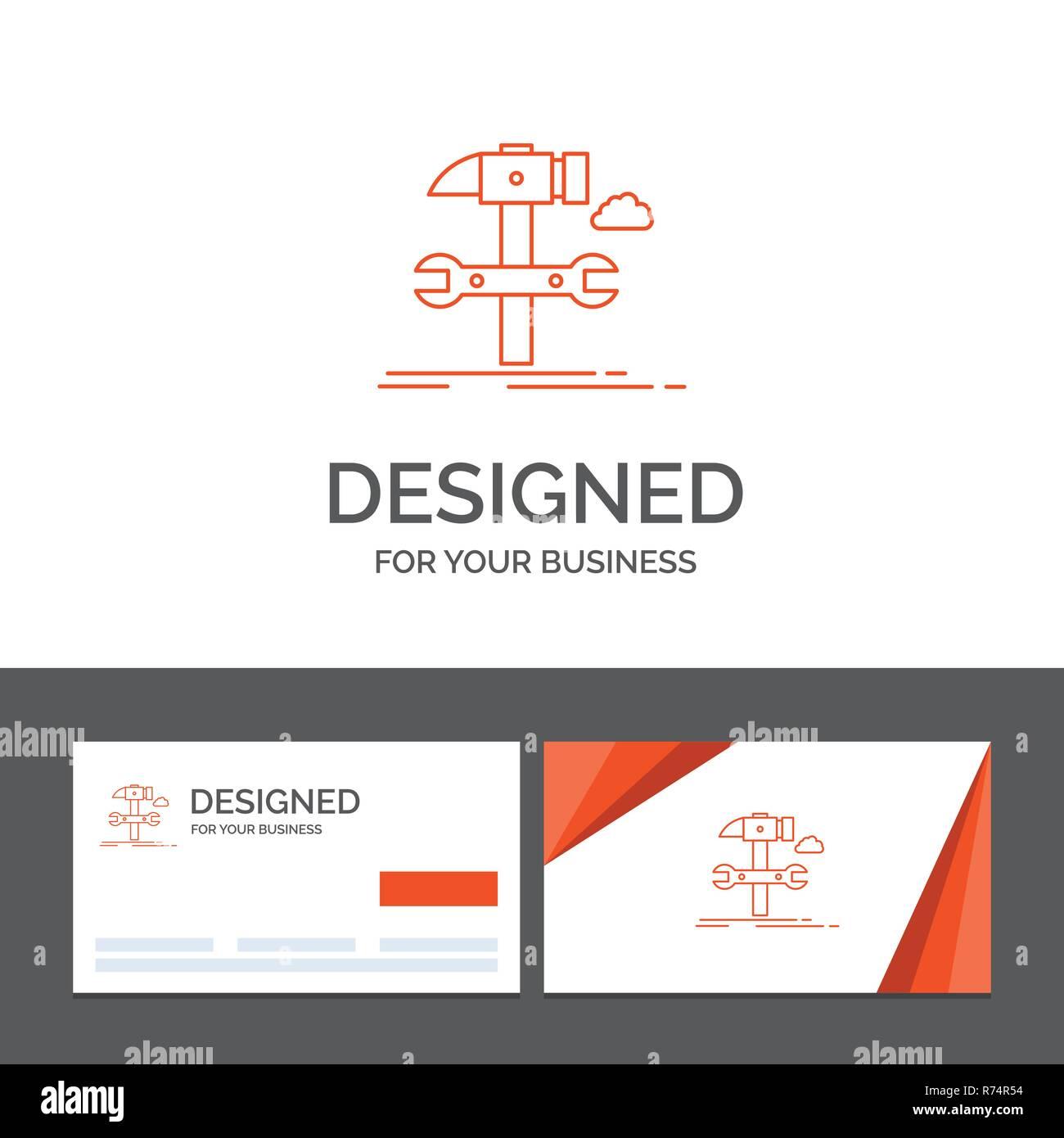 Logo Dentreprise Modele Pour Construire Lingenierie Marteau Reparation Service Cartes De Visite Orange Avec Marque Template