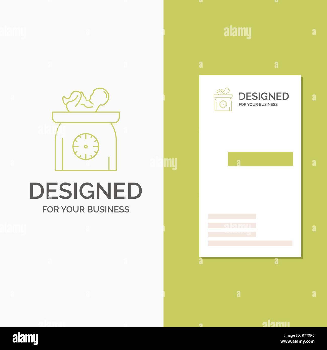 Logo Dentreprise Pour Le Poids Bebe Nouveau Ne Balances Gamin Lentreprise Verte Verticale Modele De Carte Visite Arriere Plan Creatif Vector